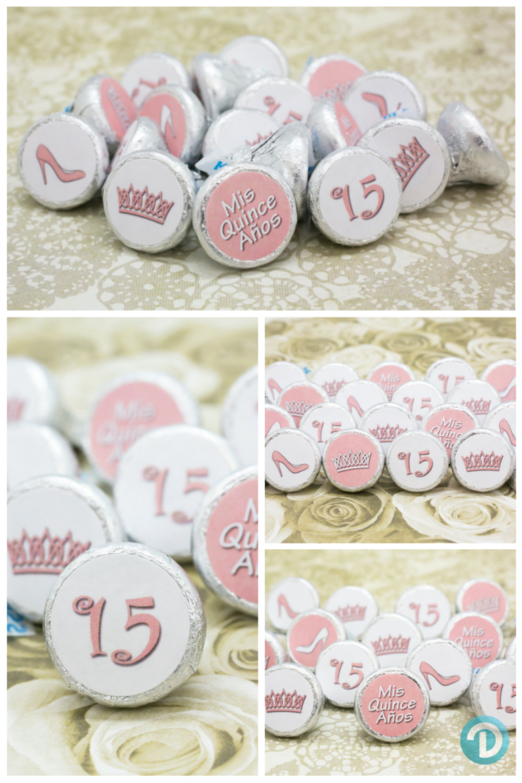 3ee286f8d46e91 Create your own Quinceanera party favors. Simply peel and stick our Soft  Pink stickers on Hershey Kisses