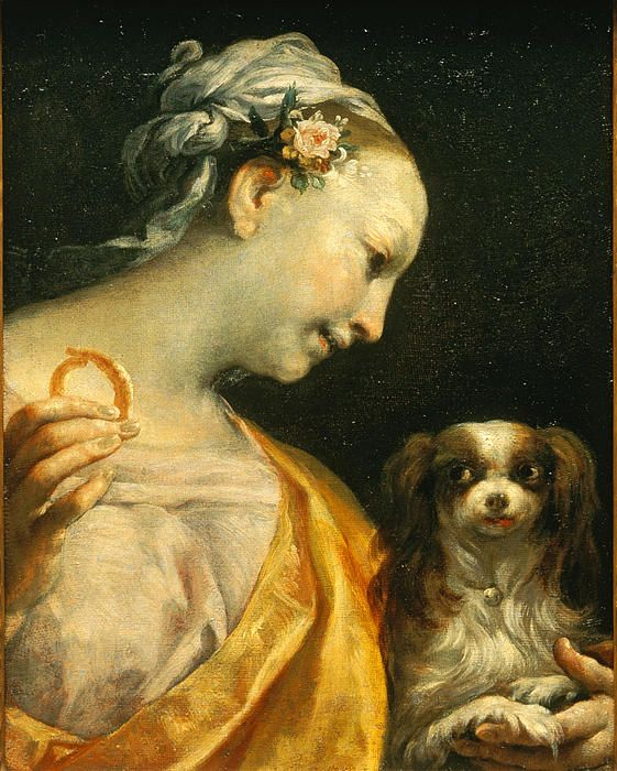 A Lady With A Dog By Giuseppe Maria Crespi Cavalier King Charles Cavalier King Charles Spaniel Honden