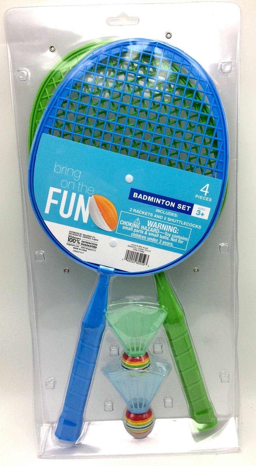 badminton 4 piece play set 2 racquets 2 balls random colors