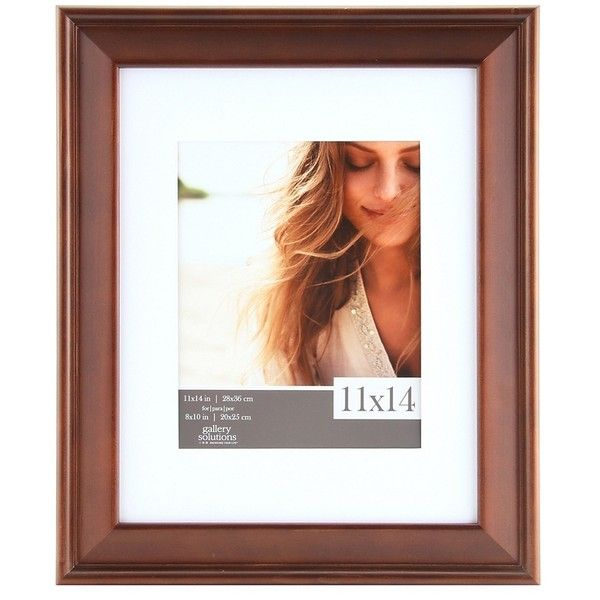 White Mat Walnut Slant Picture Frame, 11x14 ($25) ❤ liked on ...