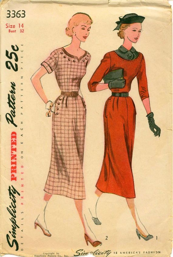 Early 1950s Sewing Pattern Simplicity 3363 1950 One Piece Dress