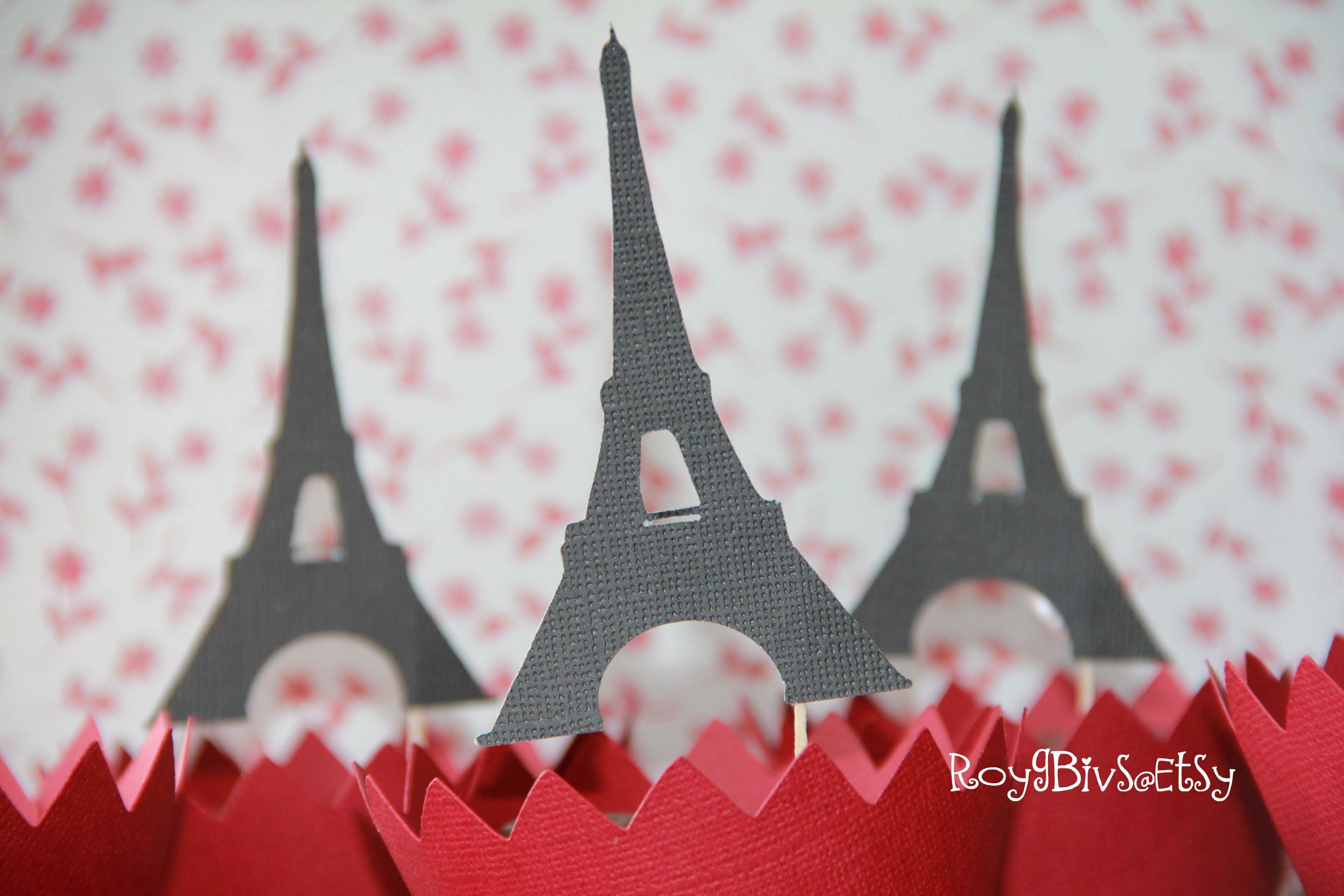 Paris Party Eiffel Tower Cupcake Toppers Bridal Shower