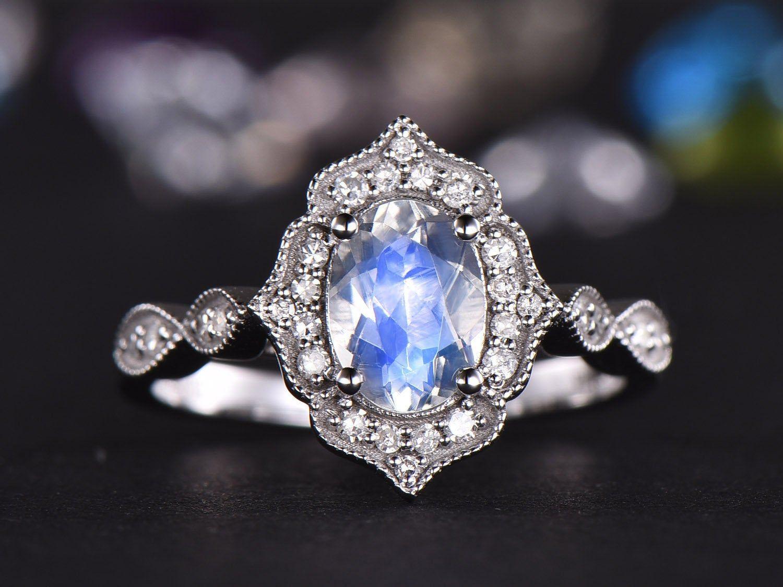 Vintage Moonstone Engagement Ring White gold Diamond