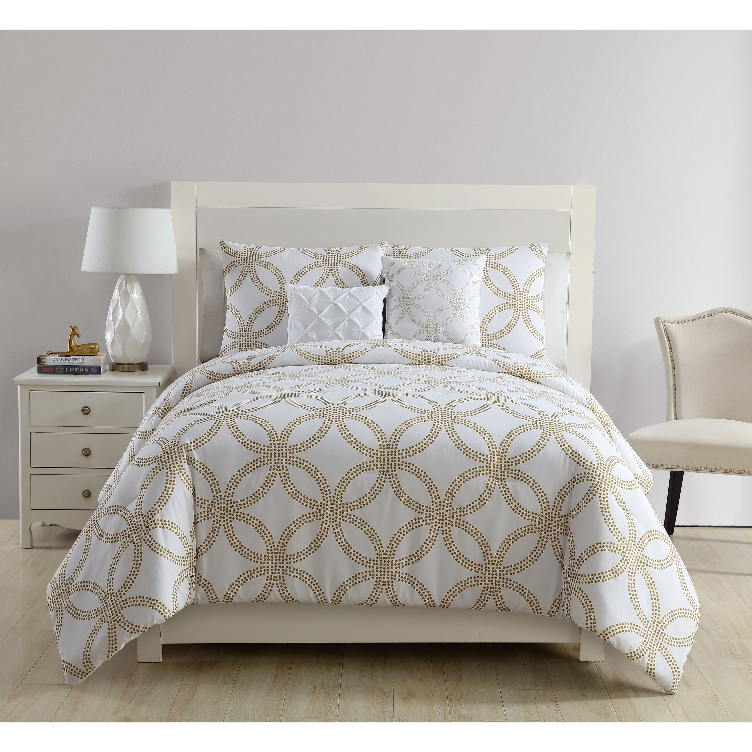 Queen King Bed Black White Floral Geometric Circles 7 pc Comforter Set Bedding