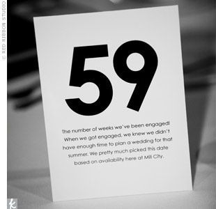 Table numbers with meanings. Use numbers that represent something in your lives instead of the conventional 1, 2, 3, etc.