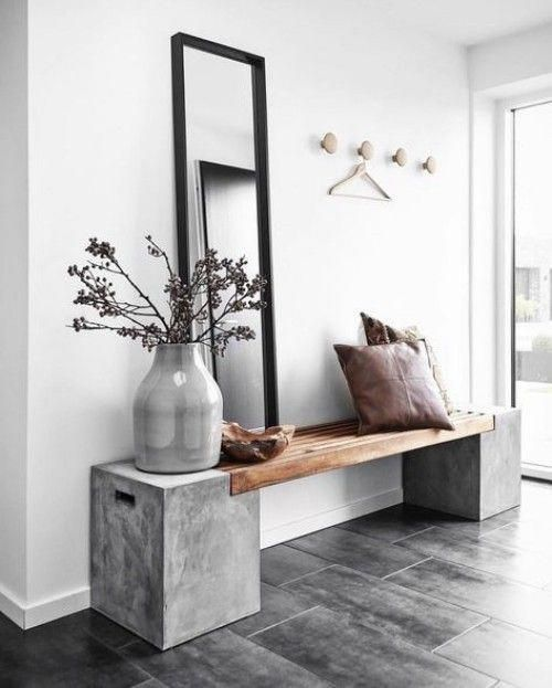 Flur gestalten schlichte Sitzbank minimalistisches