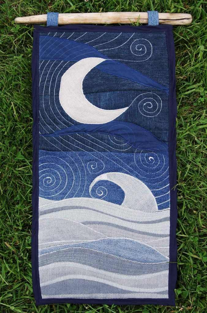 Stitched moon wall hanging made with upcycled fabrics. Handfasting present, filled with herbs & messages for love!