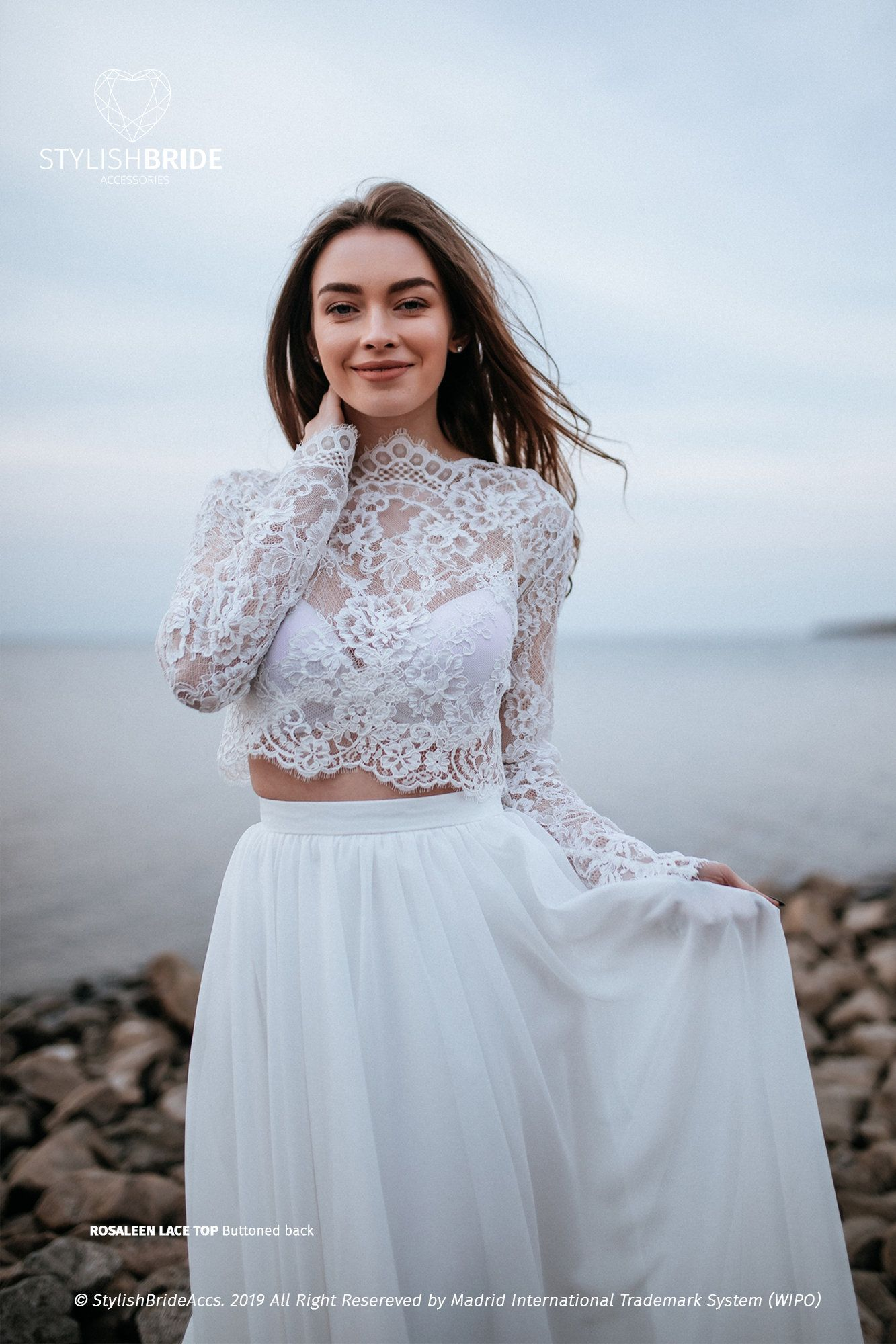Rosaleen Lace Top, BOHO Bridal Lace Crop Top, Engagement