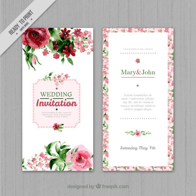 convite de casamento floral da aguarela Vetor grátis