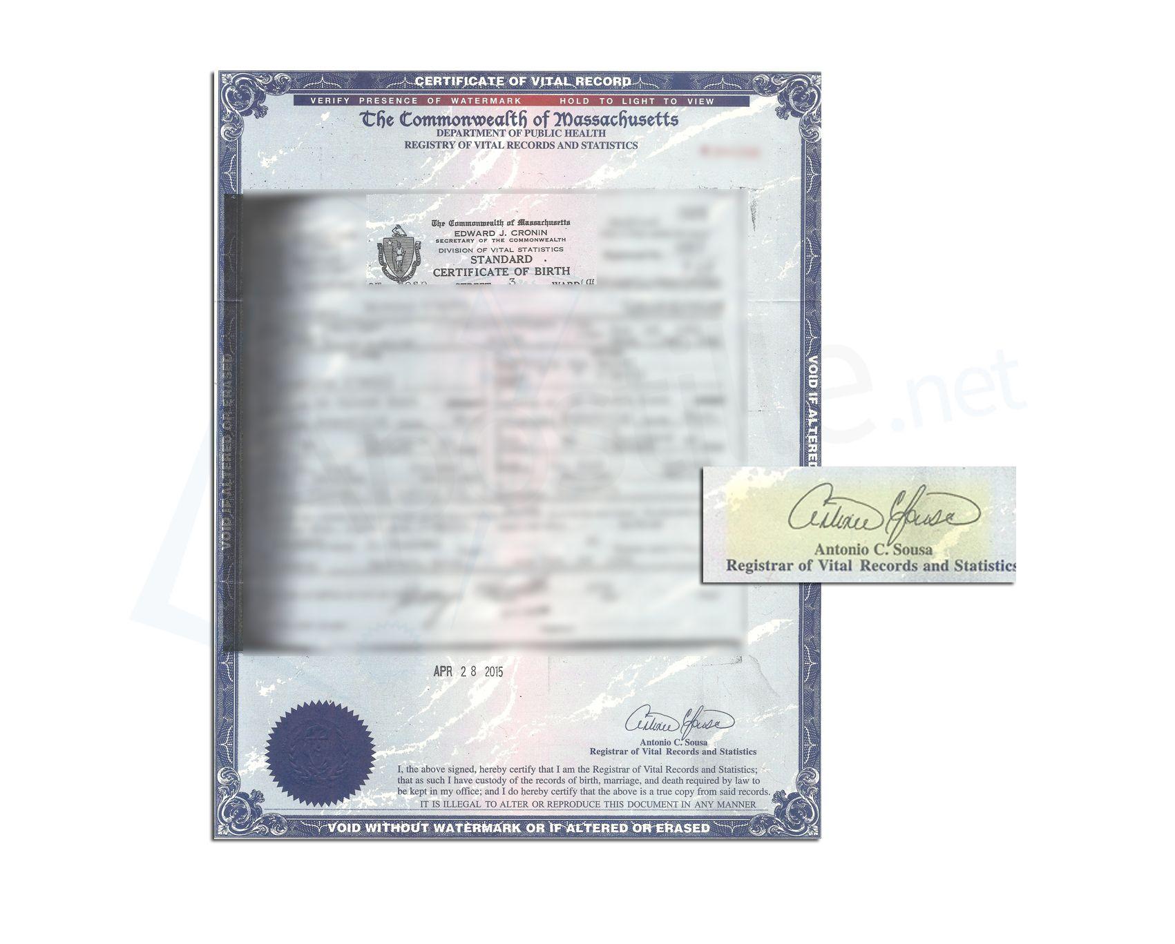 certified copies of massachusetts birth certificates