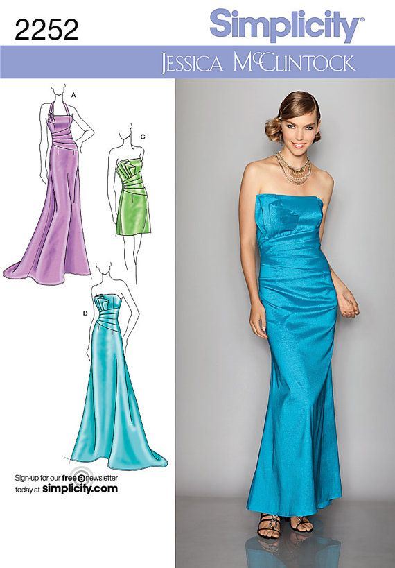 Simplicity 2252 Prom Dress Pattern, Bridesmaids dress pattern ...