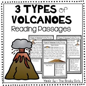 3 Types of Volcanoes Reading Passages Cinder cone volcano, Shield - best of shield volcano coloring pages