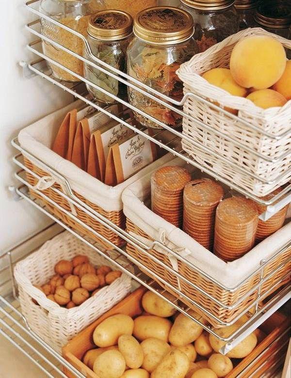 Ideas de almacenaje para la cocina | Cesta para, Cestas y Cocinas