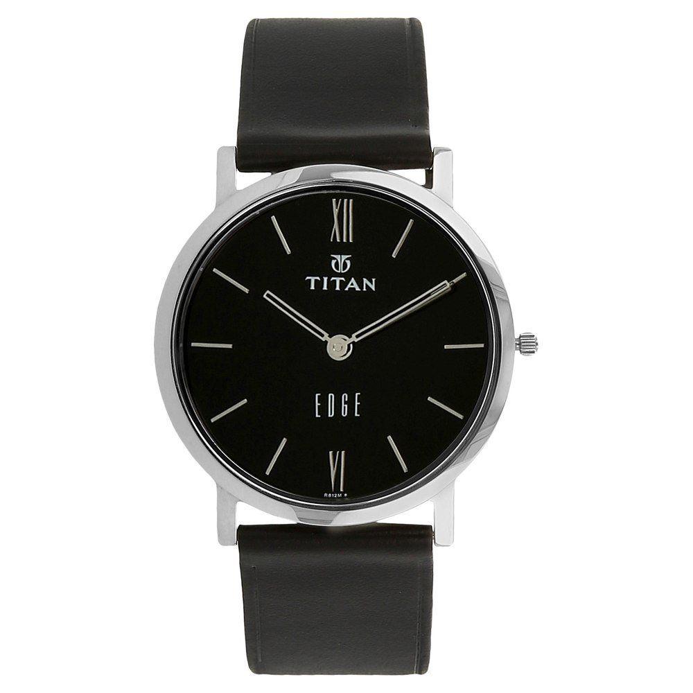 89eab4ec6a8 Titan Mens 679SL02 Edge UltraSlim 3.5mm Thin Watch with Black Leather Band
