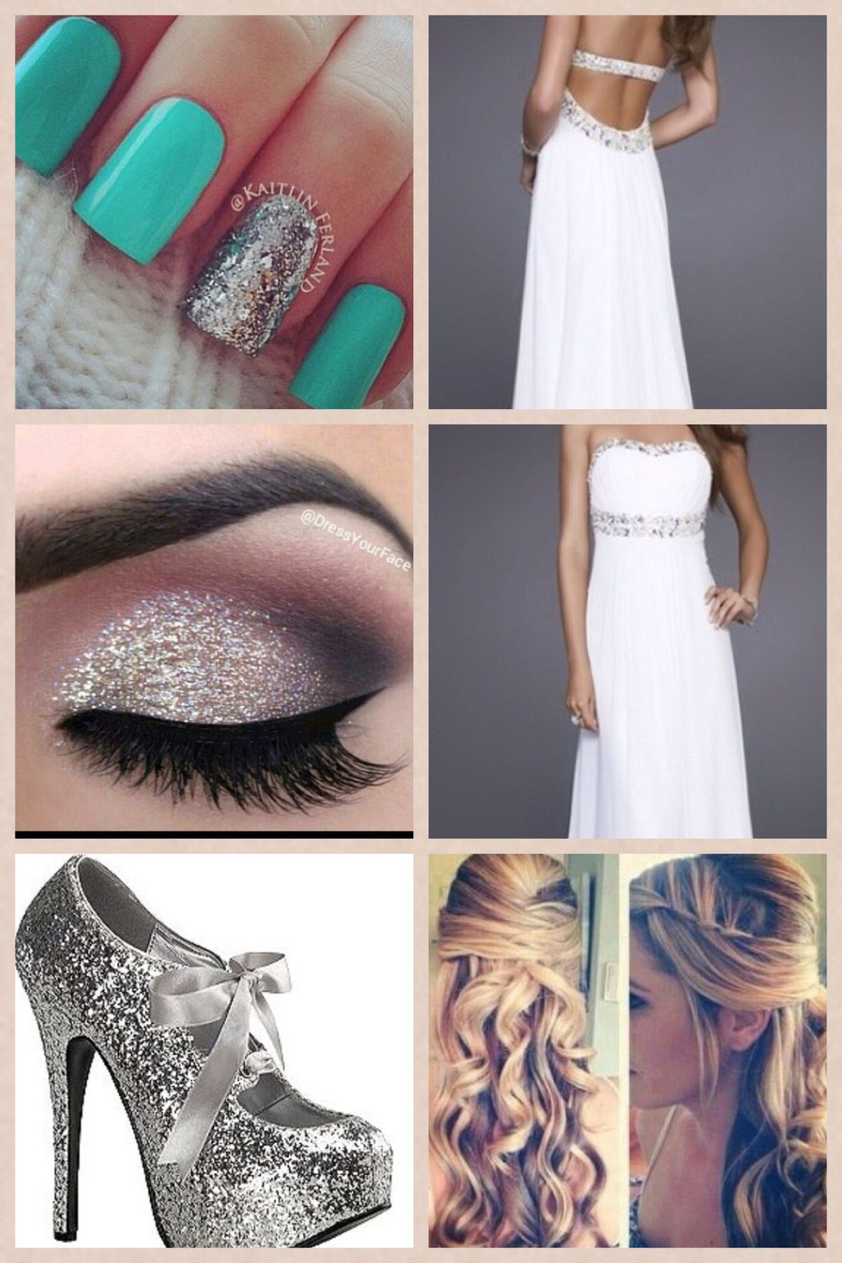 Makeup with mint green dress  I think that this would be a cute Prom look for any girl The silver