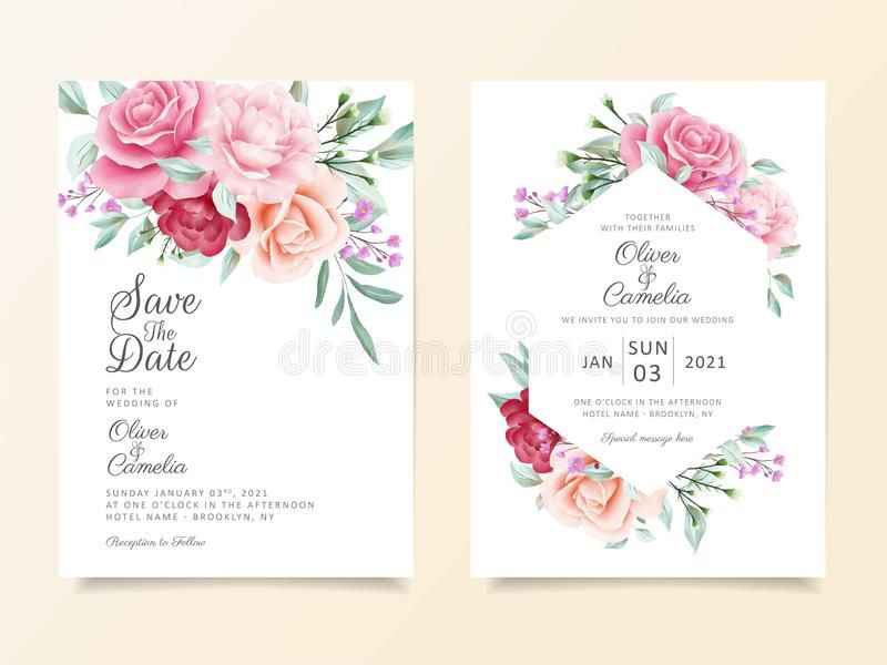 Beautiful Wedding Invitation Card Template Set Of Flowers Arran Elegant Wedding Invitation Card Floral Wedding Invitation Card Wedding Invitation Card Template