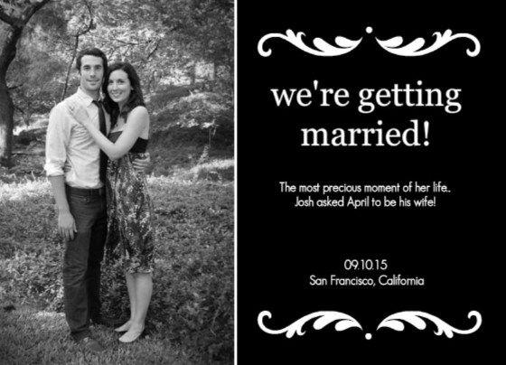 Black Wedding Jpg 560 404 Unique Wedding Announcements Engagement Announcement Cards Wedding Announcements