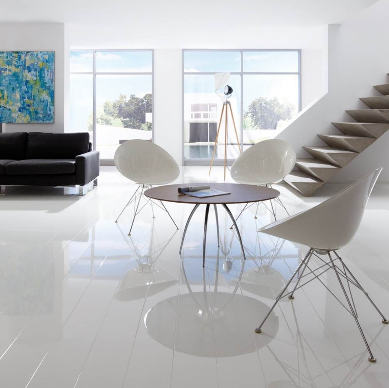 Elesgo Super Gloss White Laminate Flooring 772316 Sample White Laminate Flooring White Laminate High Gloss Floors