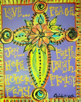 Funky Cross Paintings | Emily\'s Original Art: Whimsical Wall Art ...