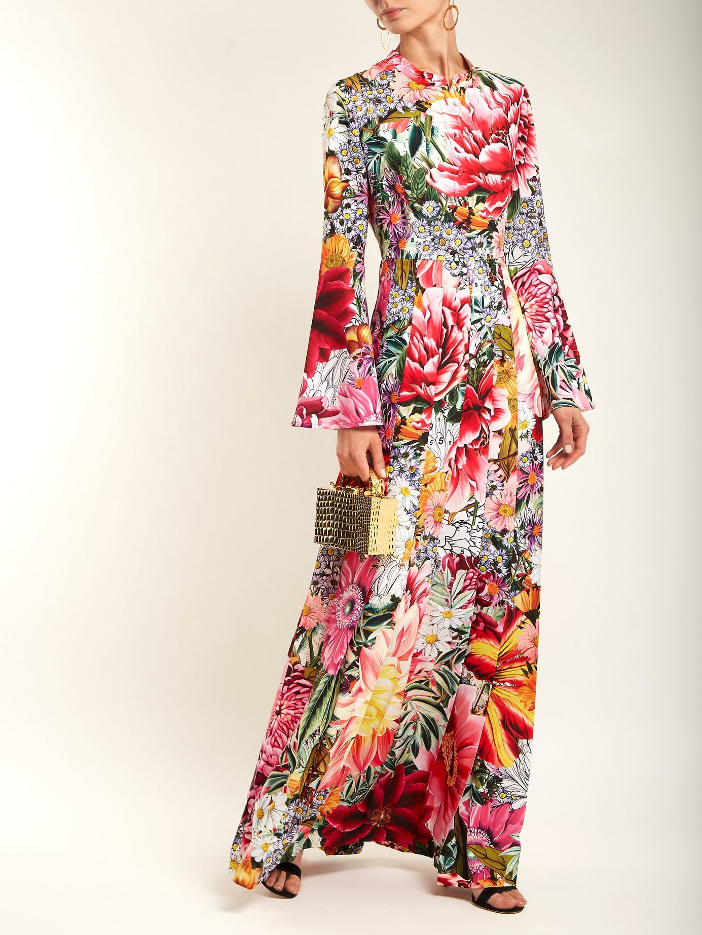 Desmine floral-printed crepe dress Mary Katrantzou dOmIBbO