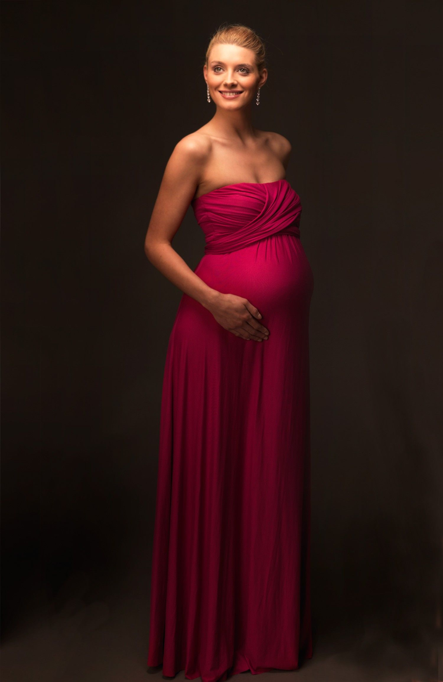 Maternity Dress Wedding Bridesmaid Maroon Infinity Wrap Formal ...
