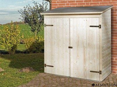Petite armoire de jardin en bois brut, à toit platLu0027armoire de - armoire a balai exterieur