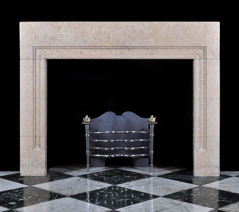 Antique Art Deco Bolection Stone Fireplace Mantel Art Nouveau