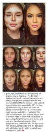 ¡Contorno de maquillaje paso a paso! Me encanta, gracias glam_her_booth !!,  #b…