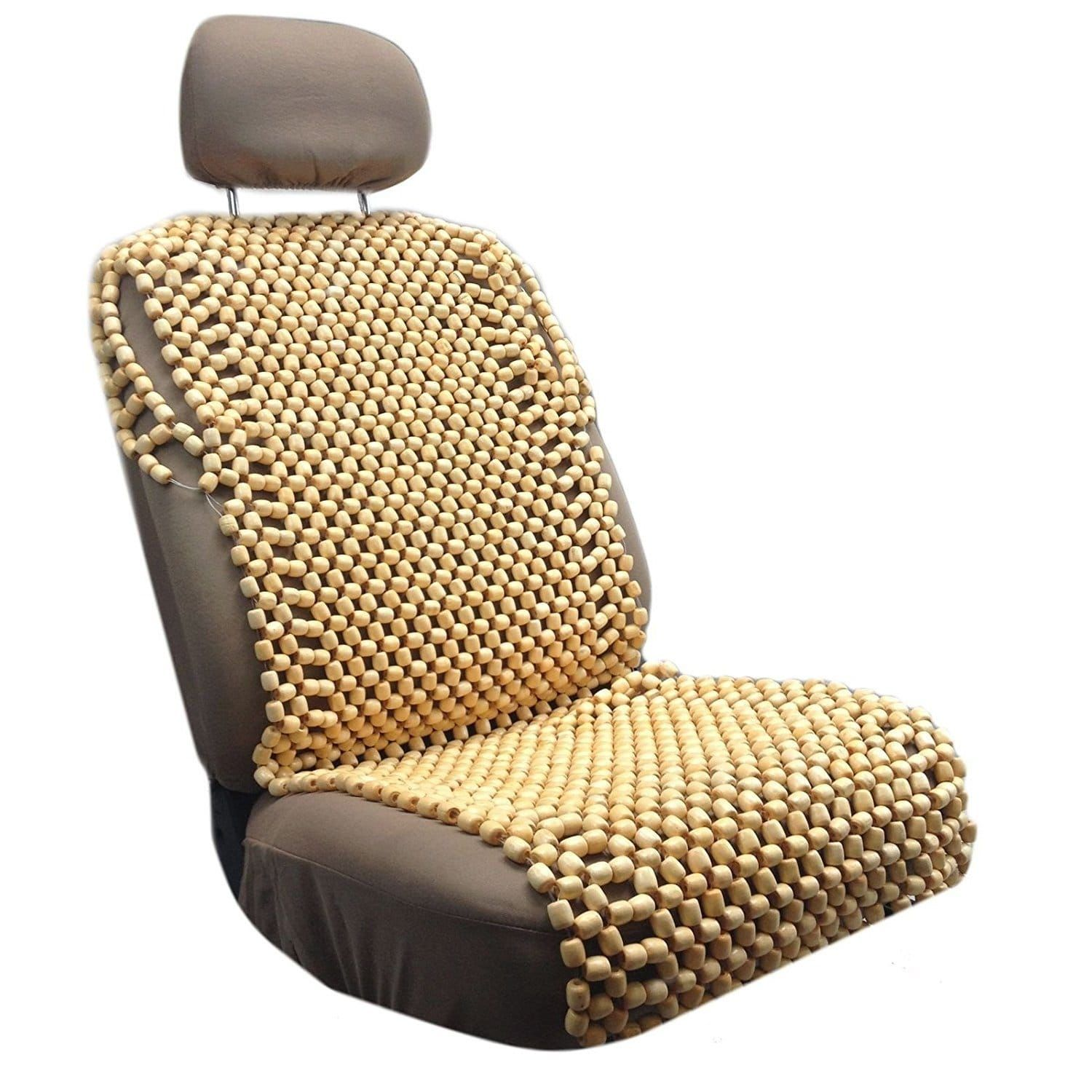 Natural Wooden Beaded Massage Back Car Seat Cover Cooling Wood Front Seat Pad