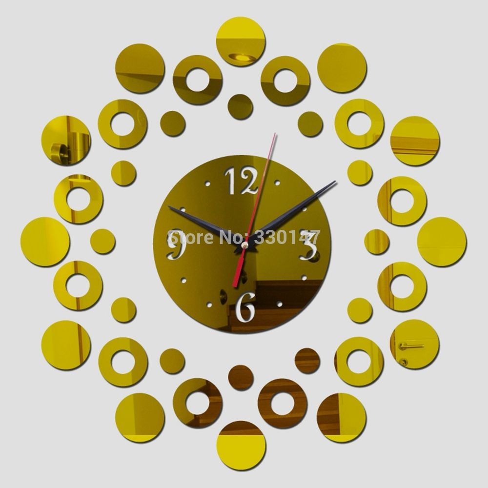 Home Decor Bubbles and Round Point mirrors Clock Wall Stickers ...