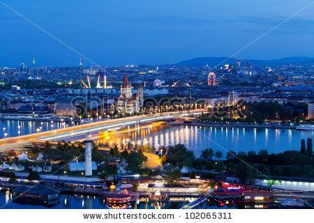 Vienna, aerial view at night by Muellek Josef, via Shutterstock