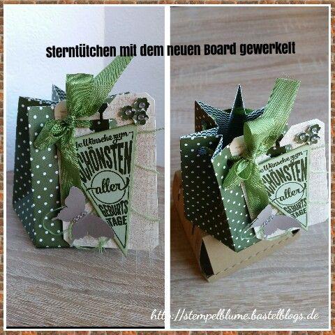 Sterntütchen entstanden, mit dem neuen Punch Board für Geschenktüten, mit Anleitung auf meinem Blog.