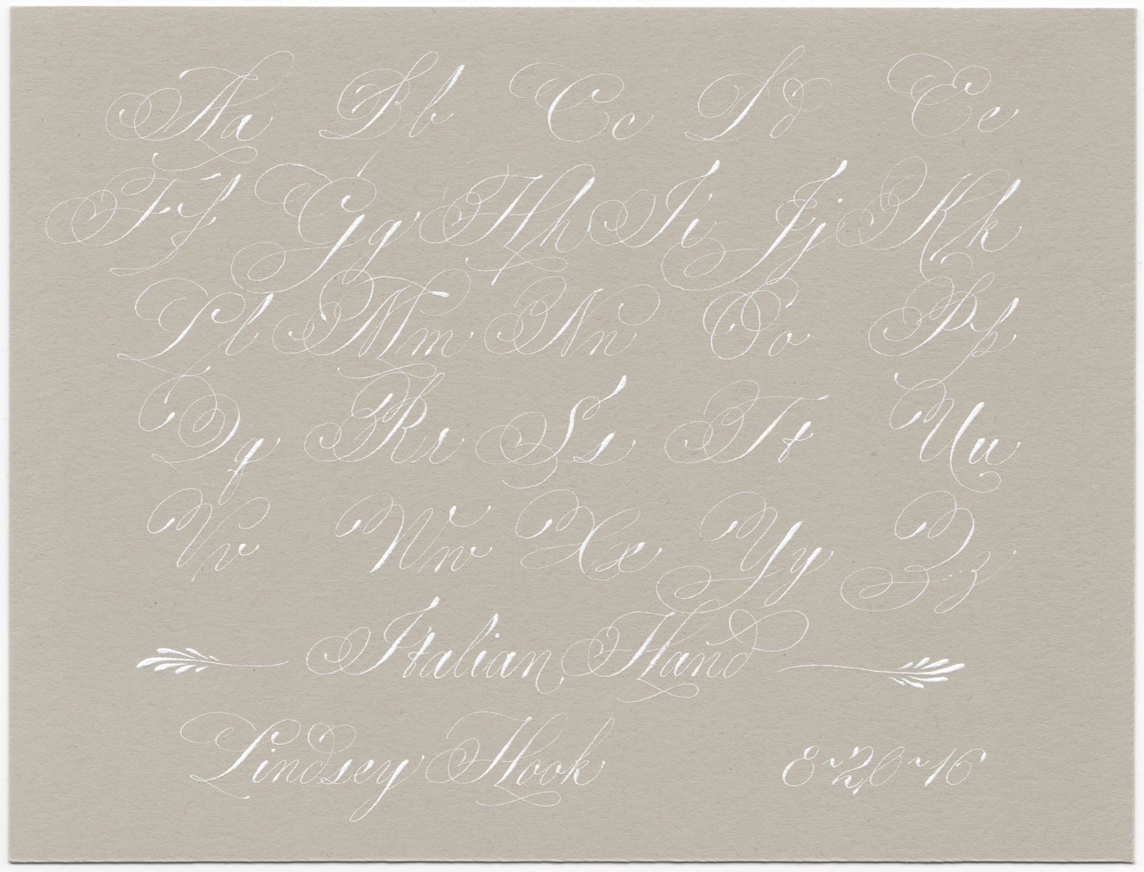 Lindsey Hook Italian Hand Exemplar In Bleed Proof White On Cement Paper Lindseyhook Ita Pointed Pen Calligraphy Lettering Practice Copperplate Calligraphy