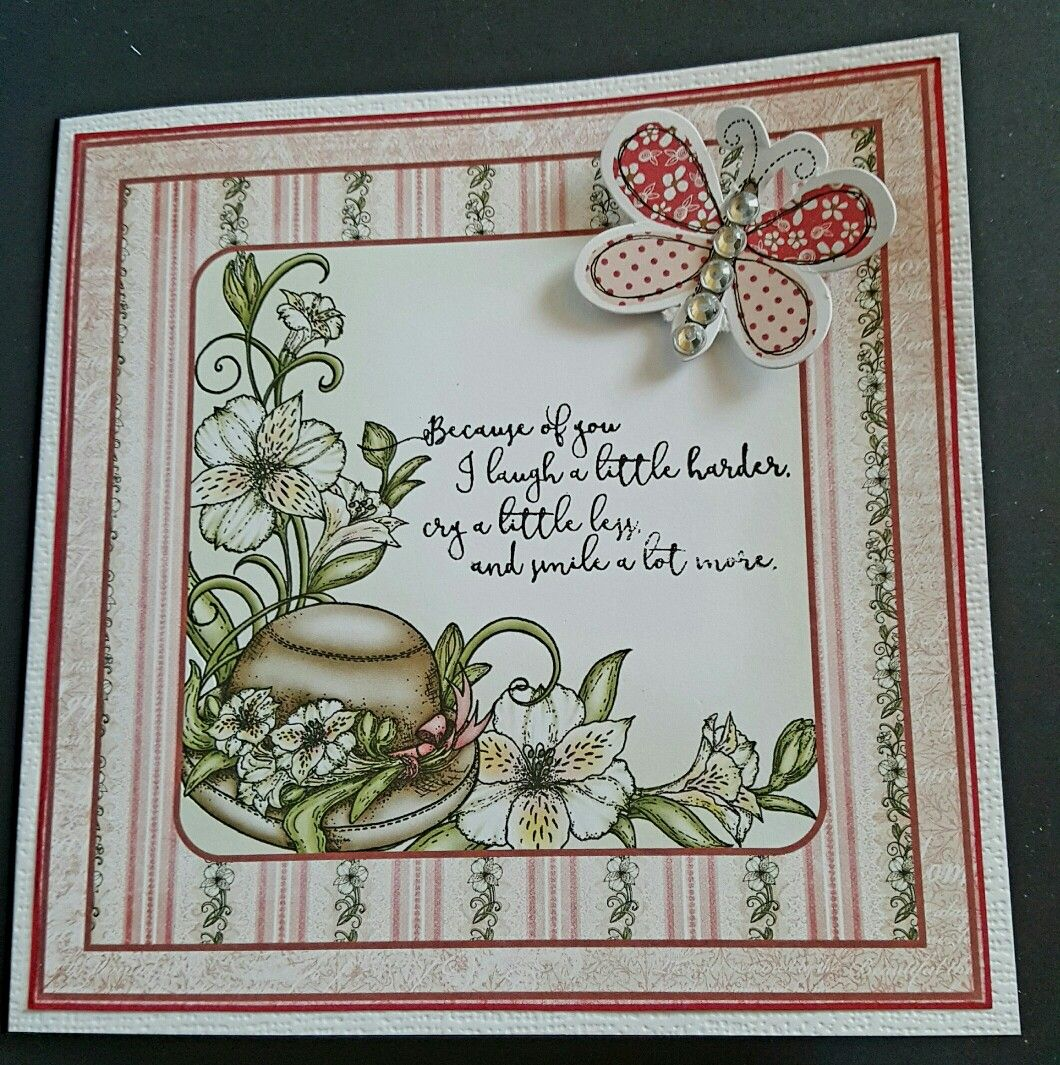 Handmade card using Heartfelt Creations and Craftwork Cards on a square linen effect card