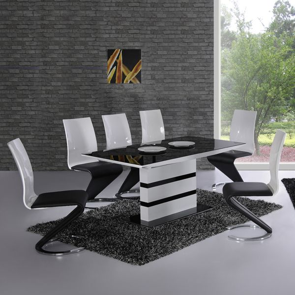 Arctic White Extending Black Glass Dining Table And 4 Chairs