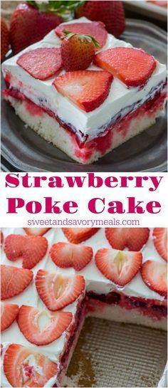 Strawberry Poke Cake is made with white cake, soaked with a mixture of white chocolate strawberry sauce, topped with strawberry pie filling and creamy whipped cream. Poke Cake is made with white cake, soaked with a mixture of white chocolate strawberry sauce, topped with strawberry pie filling and creamy whipped cream.
