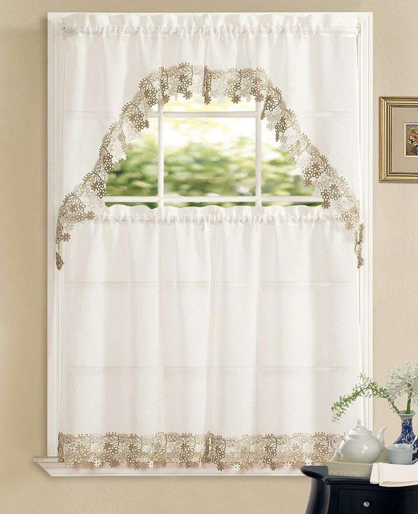 Kitchen Tier Curtains Sets Alison Macrame Embroidered 3 Piece Kitchen Curtain Swag Tiers