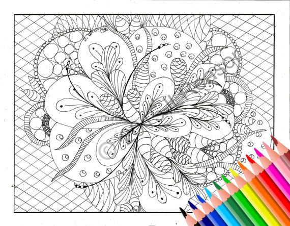 Adult Coloring Page Printable Book Pdf Instant Download Zentangle