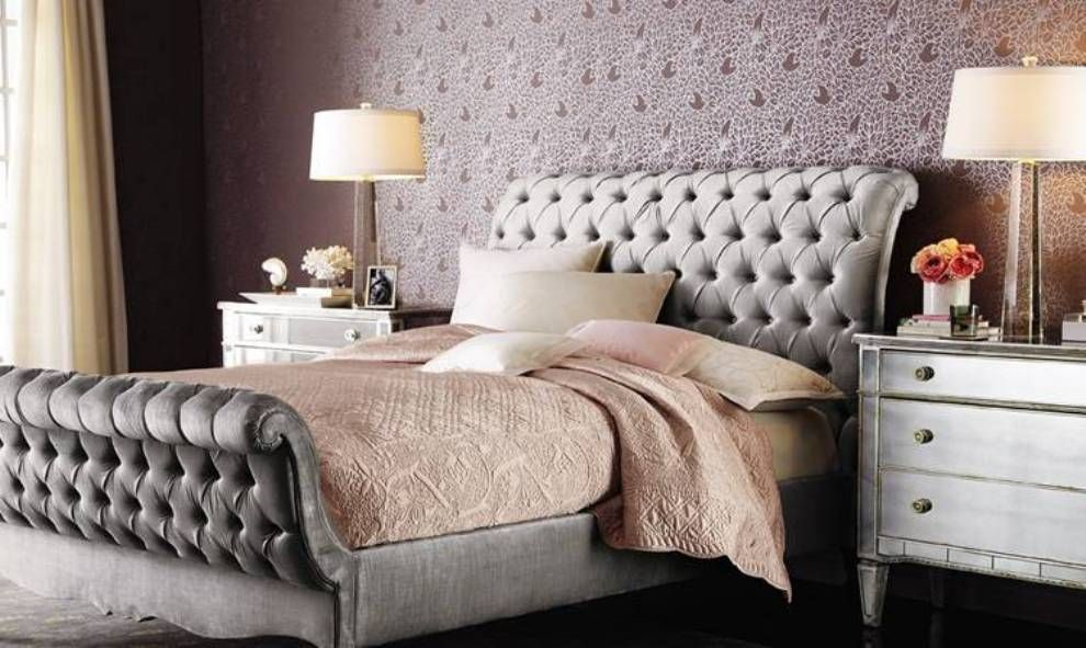 Bedroom , Allure Glam Bedroom Ideas : Glam Bedroom Ideas With Tufted Sleigh  Bed And Tan