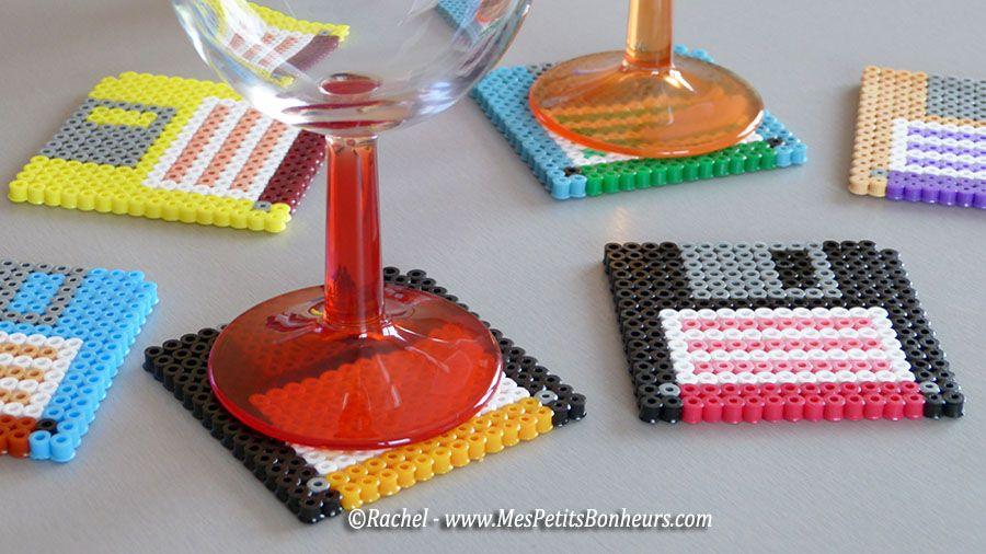 cadeau fete des peres en perles a souder disquettes dessous de verres recyclage bricolages. Black Bedroom Furniture Sets. Home Design Ideas