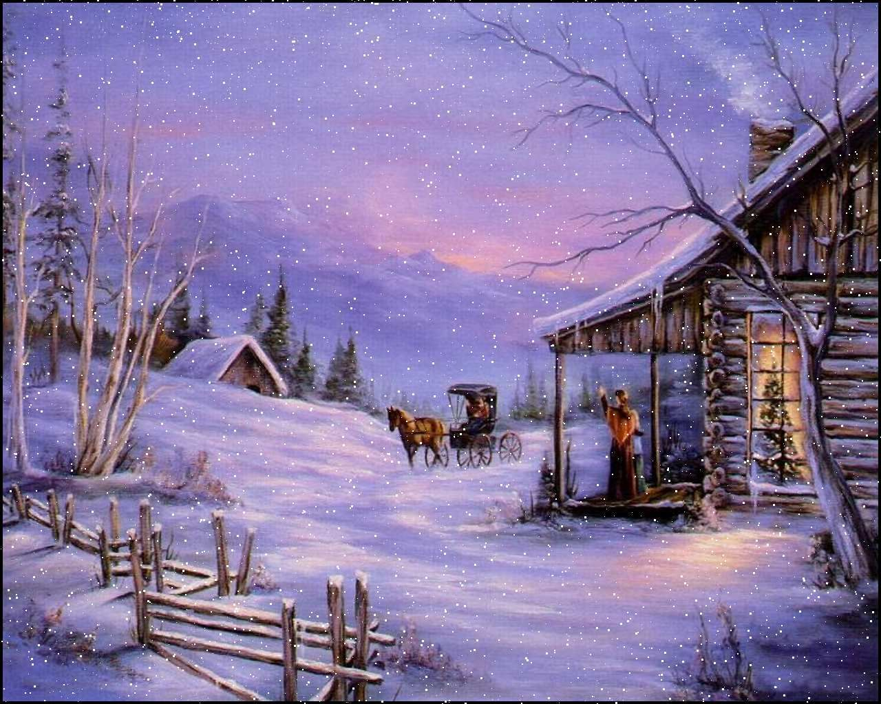 Snowfall Screensaver Fast Five Wallpaper 3d Snow Screensaver 6 0 19 Christmas Landscape Christmas Paintings Cabin Christmas