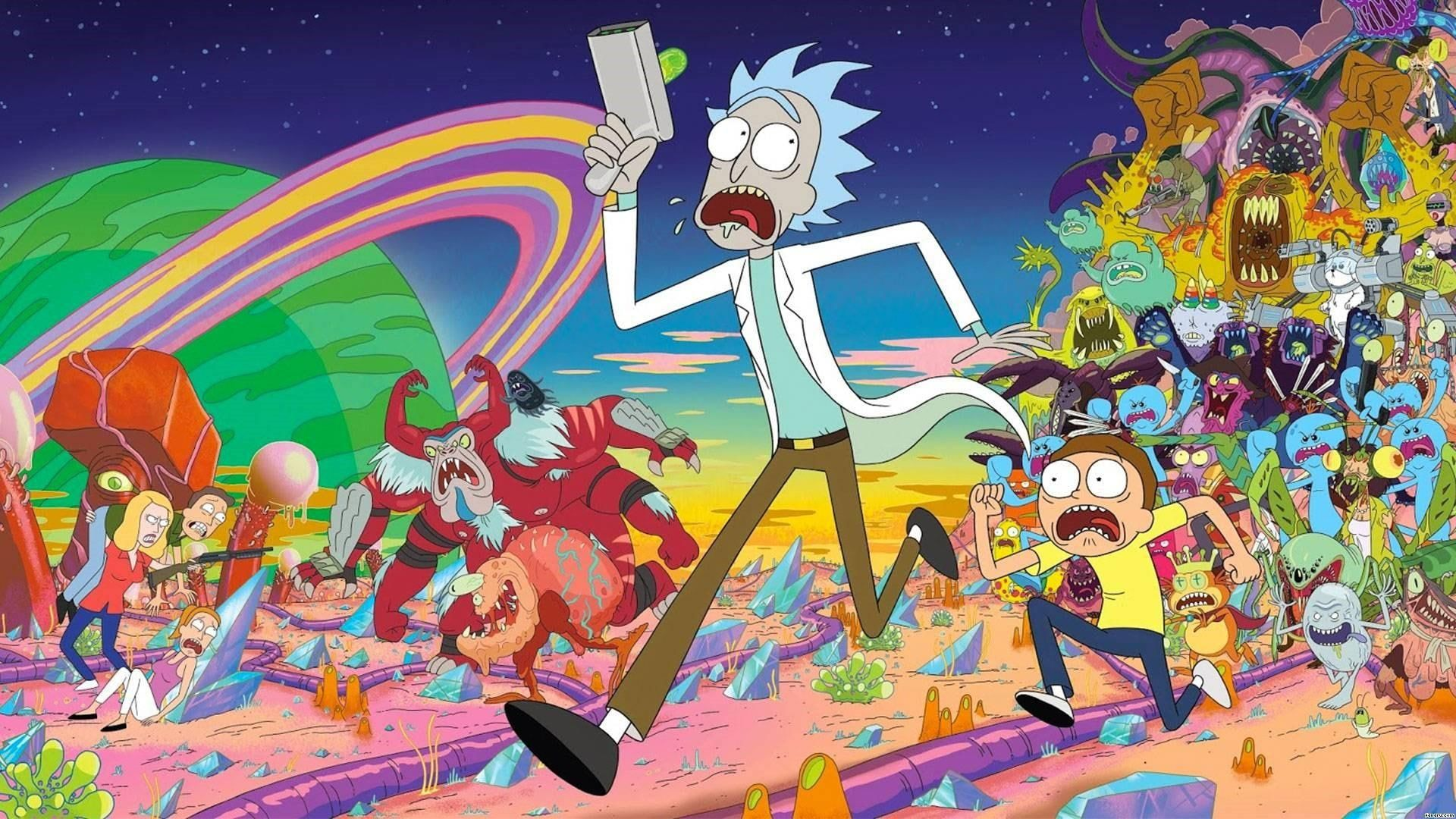 Rick And Morty Anime 1080p Wallpaper Hdwallpaper Desktop Cartoon Wallpaper Rick And Morty Poster Rick And Morty Season