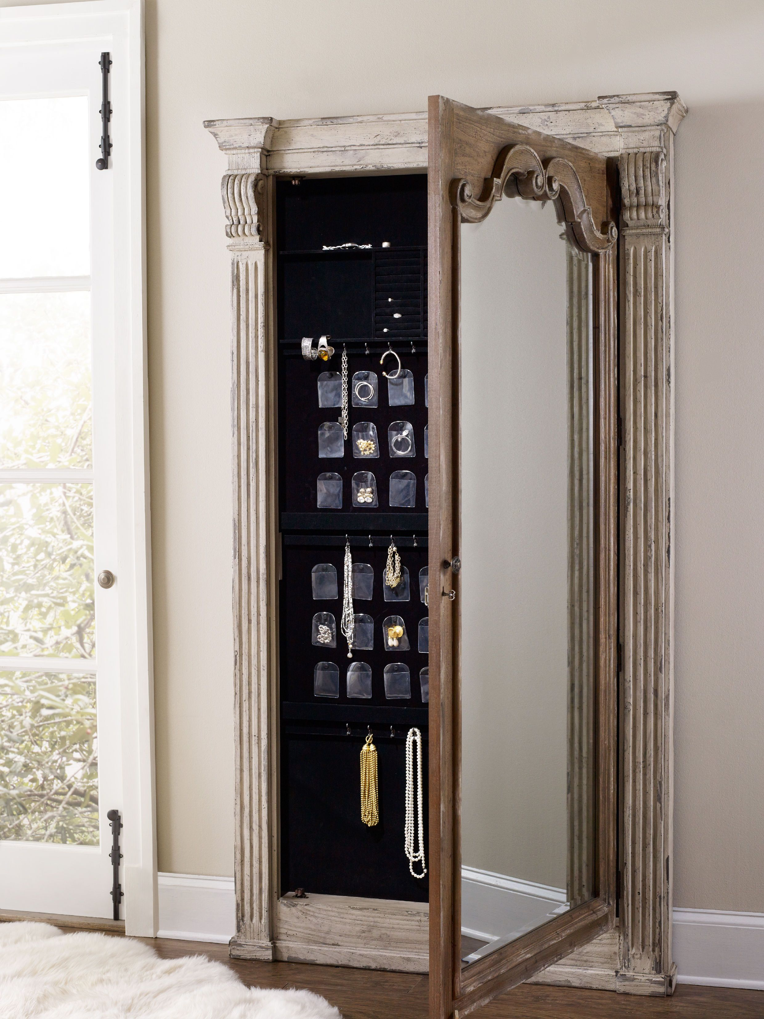 Hooker Furniture Chatelet Floor Mirror wJewelry Armoire Storage