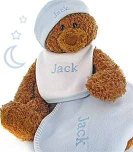 Gund bear cutie collectible set personalized blue 6999 our cutie gund bear gift set includes 3 keepsake baby gifts personalized with babys name included is a fleece hat a babys bib and a soft fleece etc negle Images
