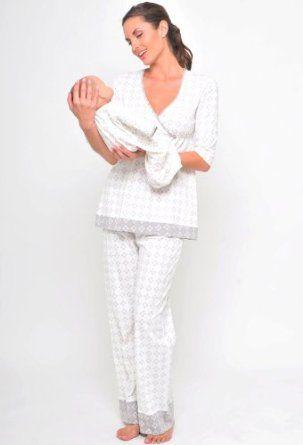 The Olian 3 pc Twin Print Nursing Pajama Set $98.00