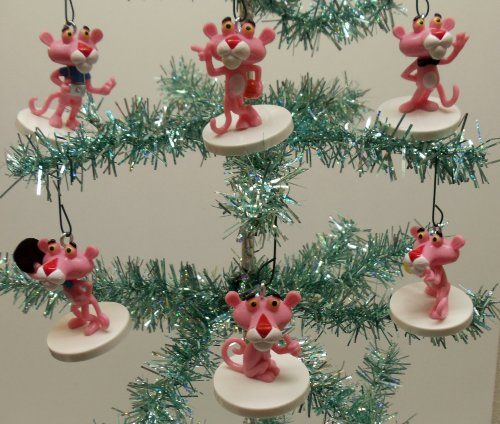 Pink Panther 6 Piece Holiday Christmas Tree Ornament Set Featuring ...