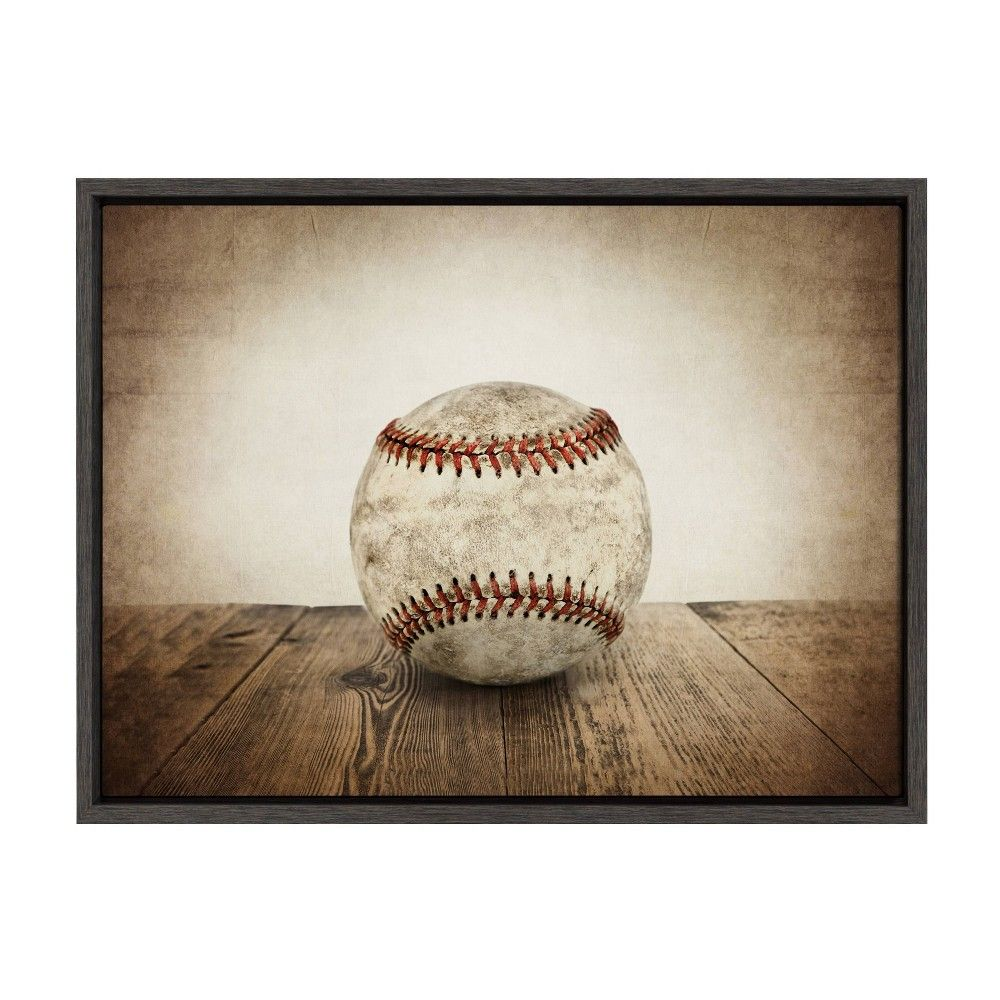 18 X 24 Sylvie Vintage Baseball Framed Canvas By Shawn St Peter Gray Designovation In 2020 Framed Canvas Wall Art Baseball Decor Wall Canvas