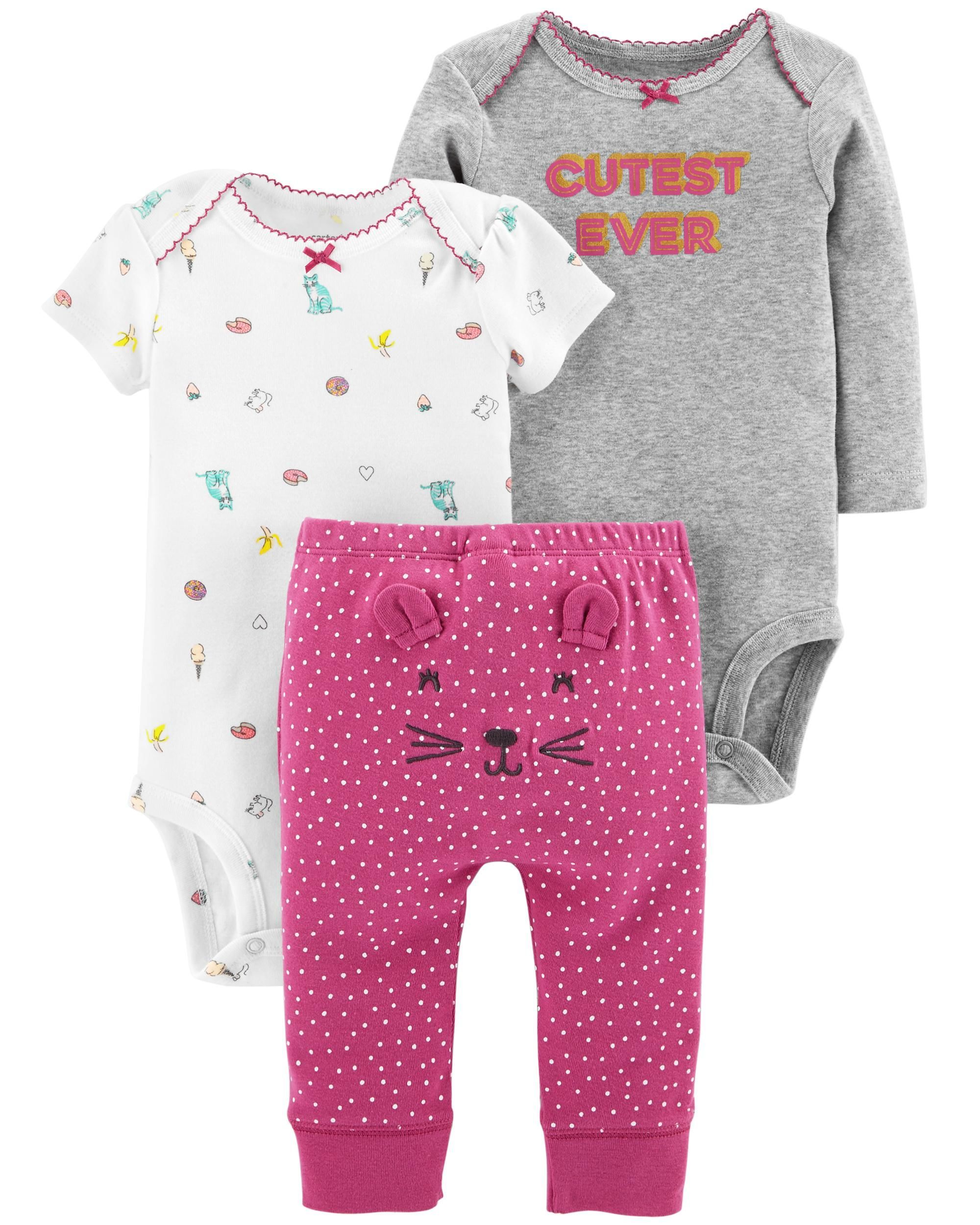 Navy//Multi Carters Baby Girls 3-Piece Layette Set 3 Months