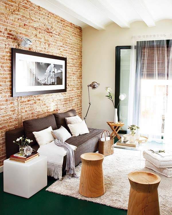 23 Elegant Living Room With Exposed Brick Wall: Lovely Studio Space. Whats With The Green Carpet