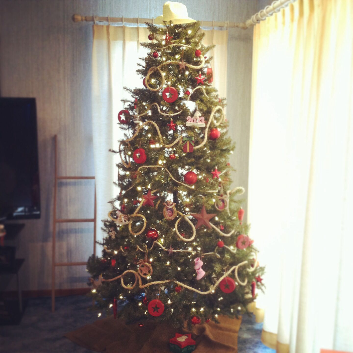Western Christmas Tree Decorations.Rope Cowboy Hat And All Rustic Country Christmas Tree